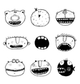 Hand drawn Doodle Outline Cartoon Monster Faces vector image