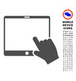 Hand pointer tablet icon with set vector image