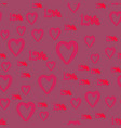 handdrawn doodle cute hearts and love word vector image vector image
