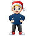 happy boy cartoon wearing christmas cap vector image