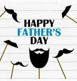 happy fathers day greeting card with photo props vector image vector image