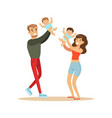 happy mother and father playing with their babies vector image vector image