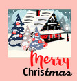 house in snowfall christmas greeting card vector image vector image