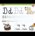how to write letter d workbook for children vector image vector image