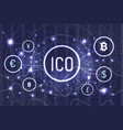 ico bitcoin and connected currencies set vector image vector image