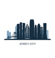 jersey city skyline monochrome silhouette vector image vector image