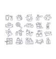 large set black and white sanitising icons vector image