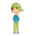 Little boy wearing cap vector image vector image