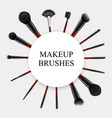 makeup brushes realistic set frame vector image