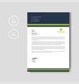 modern green letterhead layout template vector image