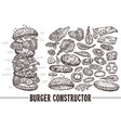 monochrome burger with ingredients vector image vector image