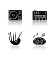 musical instruments drop shadow black glyph icons vector image