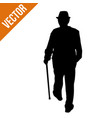 old man silhouette with stick vector image vector image