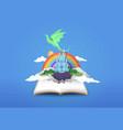 open book 3d papercut magic fantasy story
