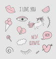 patch badges with unicorns valentines elements vector image vector image