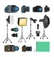 photographer tools set photography objects vector image vector image