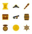 pirates adventure icon set flat style vector image