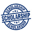 scholarship blue round grunge stamp vector image vector image