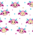 Seamless pattern with funny pink monster faces vector image vector image