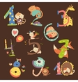 set birthday anniversary numbers with funny vector image