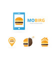set burger logo combination hamburger and vector image vector image