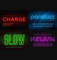set glowing neon typefaces alphabets vector image