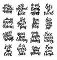 set motivation lettering phrases for postcard vector image vector image