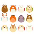 set of avatars icons with cute animals vector image vector image