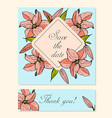 set of cards with lily floral motifs vector image vector image
