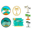 set palm tree vector image vector image