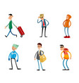 six fashionable characters vector image vector image