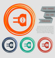 socket icon on red blue green orange buttons vector image vector image