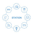 station icons vector image vector image