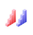statistics graph chat isometric object for vector image