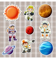 sticker design for astronaunts and planets vector image vector image