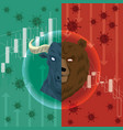 stock market down from covid-19 virus vector image vector image