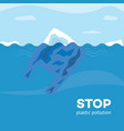 stop plastic pollution banner with polyethylene vector image vector image