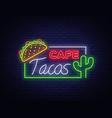 tacos logo in neon style neon sign symbol vector image vector image
