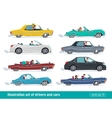 Taxi drivers car set Drivers Car creative vector image