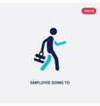 two color employee going to work icon from vector image