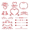 Valentine day set of red arrows dividers and vector image