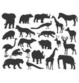 variety animals silhouette set vector image vector image