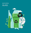 waste glass sorting flat style design vector image