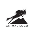 wildebeest jumping logo sign on vector image vector image