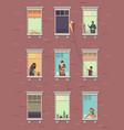 windows with people opened window neighbors vector image vector image