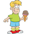 Cartoon boy holding an ice cream cone vector image