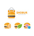 set of burger logo combination hamburger and sale vector image