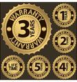Warranty golden label set vector image
