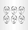 men faces emotions symbols vector image
