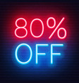 80 percent off neon lettering on brick wall vector image vector image